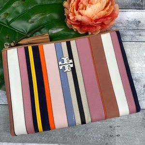 Tory Burch Britten web pouch clutch striped bag